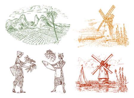 Piantagione di cacao o caffè. Fattoria vintage e paesaggio con montagne, raccolta delle donne, mulino a vento per badge logo etichetta. Schizzo disegnato a mano inciso. illustrazione vettoriale.