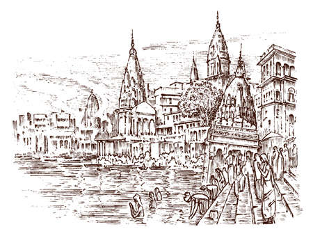 Historical architecture with buildings, perspective view. Landscape in city Varanasi in India. Ganges River Engraved hand drawn in old sketch and monochrome vintage style. Travel postcard