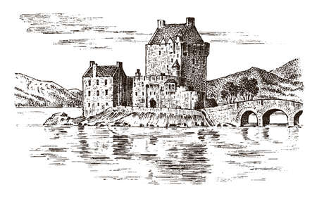 Vintage Castle in Scotland. Graphic monochrome landscape. Engraved hand drawn old sketch. Fortress or tower. Stone citadel. Bridge over the river in the background of the building.