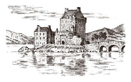 Weinleseschloss in Schottland. Grafische monochrome Landschaft. Gravierte handgezeichnete alte Skizze. Festung oder Turm. Steinzitadelle. Brücke über den Fluss im Hintergrund des Gebäudes.