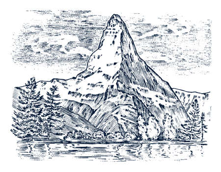 Mountains peaks, vintage matterhorn, old looking hand drawn, sketch or engraved style, different versions for hiking, climbing. landscape of nature. valley with green trees. vector illustration