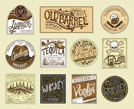 Vintage amerykański odznaka. Absynt Tequila Wódka Likier Rum Wino Mocna whisky Piwo. Etykieta alkoholowa z elementami kaligraficznymi. Ramka na baner plakatowy. Ręcznie rysowane grawerowane napisy na t-shirt