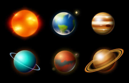 Planets in solar system. Astronomical galaxy. cosmonaut explore adventure. Space Mars and sun, earth and venus. banner or background for a web site