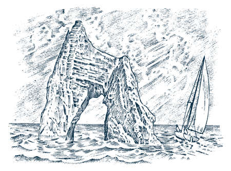 Rock in the sea. Vintage landscape. Sailing ship at the stone mountain in the ocean. Golden Gate. Koktebel in the Crimea. Engraved hand drawn old sketch. Vector illustration for a poster or label