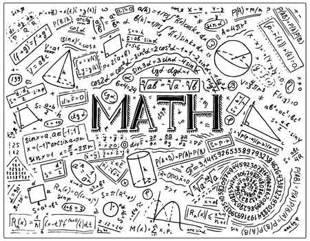Scientific formulas and calculations in physics and mathematics on whiteboard. The lesson of algebra and geometry in school. Education and Science. engraved hand drawn in old sketch and vintage style