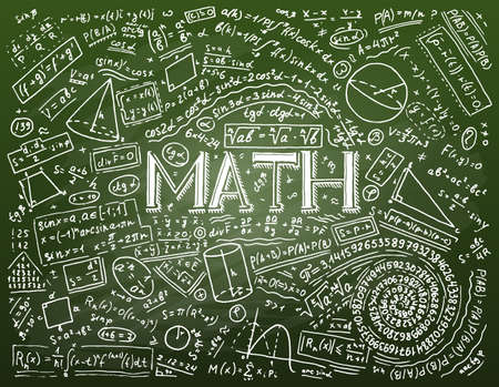 Scientific formulas and calculations in physics and mathematics on whiteboard. The lesson of algebra and geometry in school. Education and Science. engraved hand drawn in old sketch and vintage style Ilustração