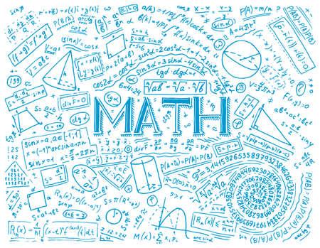 Wissenschaftliche Formeln und Berechnungen in Physik und Mathematik auf Whiteboard. Der Unterricht in Algebra und Geometrie in der Schule. Bildung und Wissenschaft. gravierte Hand gezeichnet in der alten Skizze und im Vintage-Stil