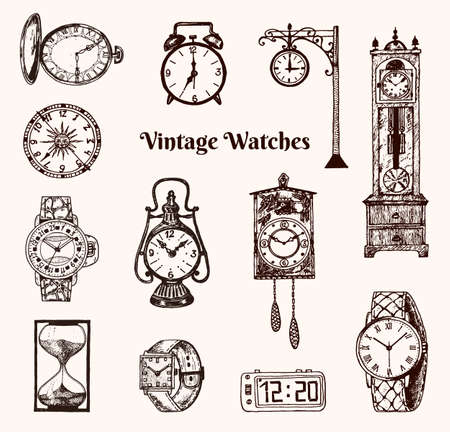 Vintage classic pocket watch, alarm clock, hourglass and dial showing time. Ancient collection elements. Engraved hand drawn old monochrome sketch