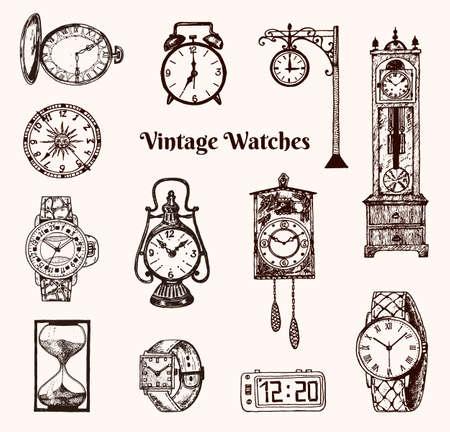 Vintage klassische Taschenuhr, Wecker, Sanduhr und Zifferblatt mit Uhrzeit. Alte Sammlungselemente. Gravierte handgezeichnete alte monochrome Skizze Vektorgrafik