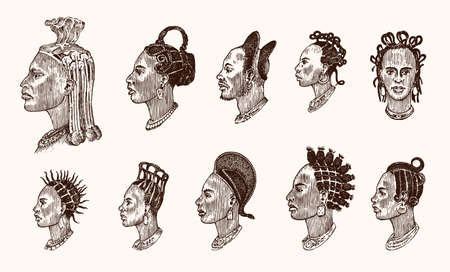 African national male hairstyles. Profile of a man with curly hair. Different Afro Dreadlocks. Ancient faces of people. Portrait Engraved hand drawn old sketch. Southern tribes Illustration