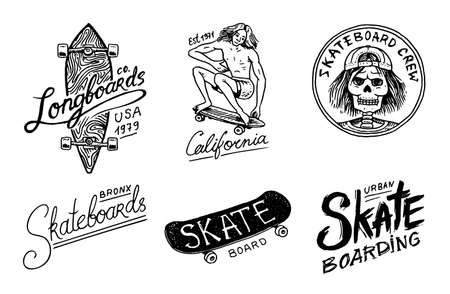 Conjunto de logotipo de etiquetas de skate. Ilustración de vector con esqueleto para patinador. Diseño urbano para insignias, tipografía de camisetas de emblemas. boceto dibujado a mano grabado en estilo monocromo vintage.