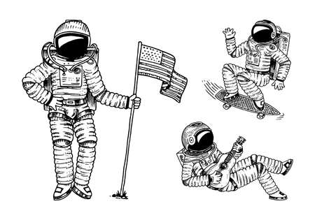 Astronaut soaring with the USA flag. Dancing spaceman with skateboard and guitar. adventure in the astronomical galaxy space. cosmonaut explores the planets in solar system engraved hand drawn sketch