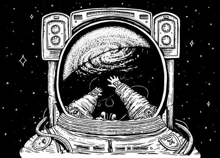 Astronaut spaceman soaring. astronomical galaxy space. Funny cosmonaut explore adventure and is reflected in the spacesuit. engraved hand drawn sketch. planets in solar system. background for website