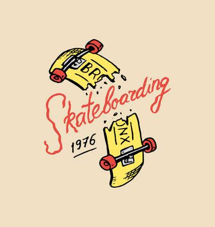 Label for Skateboarding. Urban longboard for Skater. Urban broken board. badge emblem t-shirt typography. engraved hand drawn sketch in monochrome vintage style.