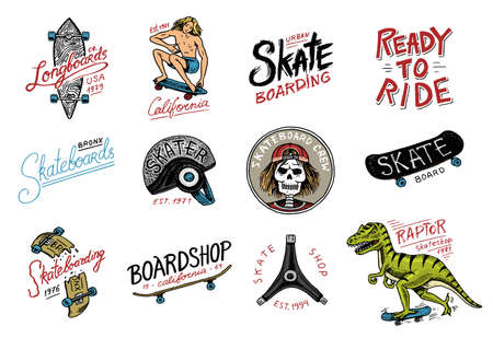 Set of Skateboarding labels logo. Skater Dinosaur tyrannosaur rex rides on the board.. Urban design for badges, emblems t-shirt typography. engraved hand drawn sketch in monochrome vintage style. Vettoriali