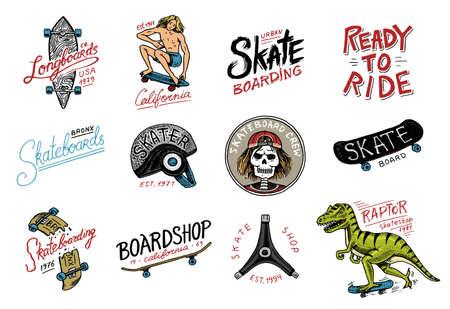Conjunto de logotipo de etiquetas de skate. Skater Dinosaur tyrannosaur rex cabalga sobre el tablero .. Diseño urbano para insignias, emblemas tipografía de camisetas. boceto dibujado a mano grabado en estilo monocromo vintage.