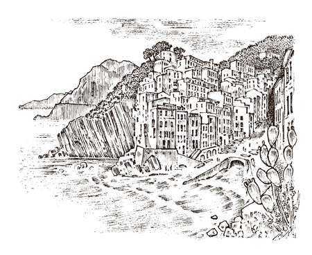 Historical architecture with buildings, perspective view. Houses on the mountain in European city Riomaggiore in Italy. Engraved hand drawn in old sketch and monochrome vintage style. Travel postcard