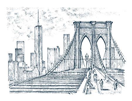 Architecture historique avec des bâtiments, vue en perspective. Paysage vintage. Pont de Brooklyn, New York. Gravé à la main dessiné dans le vieux croquis et monochrome. Carte postale de voyage.