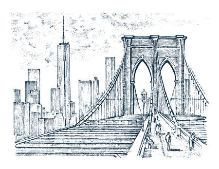 Historical architecture with buildings, perspective view. Vintage Landscape. Brooklyn Bridge, New York. Engraved hand drawn in old sketch and monochrome. Travel postcard.