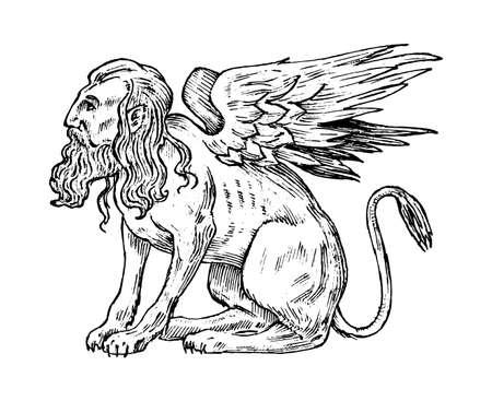 Animali mitologici. Mitica Sfinge. Antico uccello umano, creature fantastiche nel vecchio stile vintage. Vecchio schizzo disegnato a mano inciso Vettoriali
