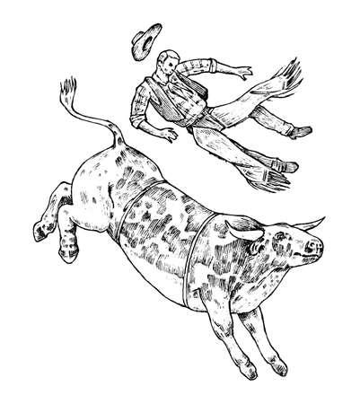 Le taureau enragé attaque le matador ou le torero. Corrida de toros. Spectacle traditionnel espagnol. Style vintage. Vieux croquis gravé à la main. Illustration vectorielle
