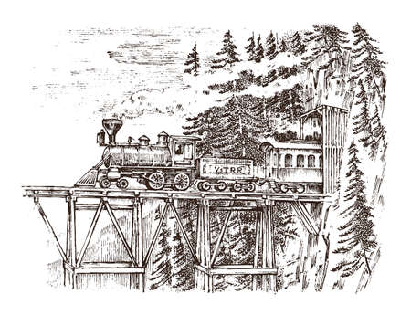 A train or a locomotive passes through a tunnel. Landscape of nature. Rock against the background of the forest. Vintage engraved hand drawn in old sketch.