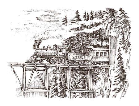 Un tren o una locomotora pasa por un túnel. Paisaje de la naturaleza. Rock contra el fondo del bosque. Vintage grabado dibujado a mano en dibujo antiguo.