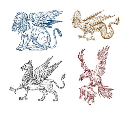 Mythological animals. Sphinx Griffin Mythical Basilisk antique Roc. Ancient Birds, fantastic creatures in the old vintage style. Engraved hand drawn old sketch.