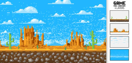 Landscape background, pixel art, 8-bit game digital vintage style. interface for the application or a web site. clouds over the mountains. Monument Valley
