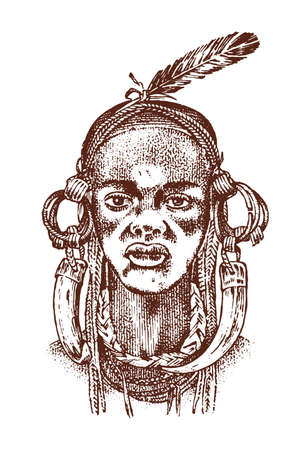 African woman, portraits of Aborigines in traditional costumes. Warlike native female. Engraved hand drawn old monochrome Vintage sketch for label Illusztráció