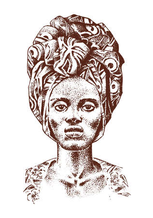 African woman, portraits of Aborigines in traditional costumes. Warlike native female. Engraved hand drawn old monochrome Vintage sketch for label Ilustração