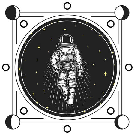 astronaut spaceman cards. Moon phases planets in solar system. astronomical galaxy space. cosmonaut explore adventure. engraved hand drawn in old sketch, vintage style for label or T-shirt. Çizim