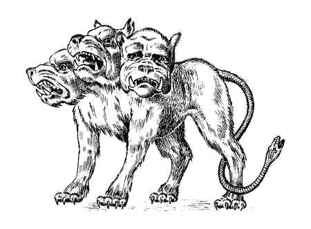 Cerberus three headed dog. Mythical Greek antique monster. Mythological animal. Fantastic creatures in the old vintage style. Engraved hand drawn old sketch Illustration