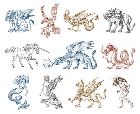 Set of Mythological animals. Mermaid Minotaur Unicorn Chinese dragon Cerberus Harpy Sphinx Griffin Mythical Basilisk Roc Woman Bird. Greek creatures. Engraved hand drawn antique old vintage sketch. Фото со стока