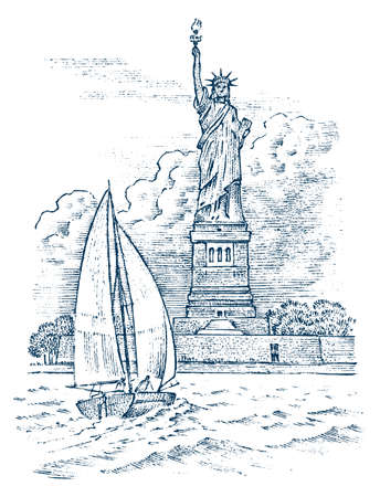 Sailboat in the sea on a background of the Statue of Liberty in New York, summer adventure, active vacation. Seagoing vessel, marine ship or nautical caravel. engraved hand drawn in vintage style