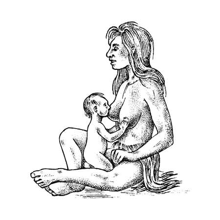 Primitive people. Prehistoric period, ancient tribe, cave barbarian woman with a child. Hand drawn sketch. Engraved monochrome illustration