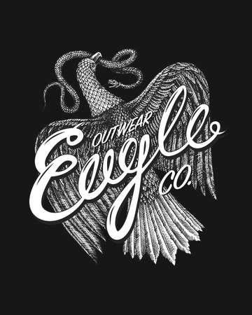 Aquila Symbol of Freedom. Wild Eagle, predatory bird. Vector hand drawn. Vintage template for t-shirt logo. Grunge label print. Engraved monochrome sketch.