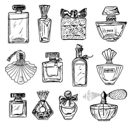 Ensemble de parfum pour femme dans une bouteille. Bel accessoire en verre à la mode. Croquis dessiné à la main. Style vintage