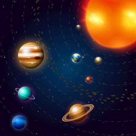 Planètes du système solaire. Voie Lactée. L'espace et l'astronomie, l'univers infini et la galaxie parmi les étoiles dans le ciel. L'éducation et la science dans le monde. Sphère Mars Vénus Soleil Terre Jupiter. Vecteurs