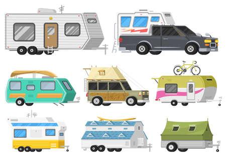 Ein Satz Anhänger oder ein Familien-RV-Camping-Wohnwagen. Touristenbus und Zelt für Erholung und Reisen im Freien. Wohnmobil-LKW. Geländewagen-Crossover. Reiseverkehr, Roadtrip, Wohnmobile.