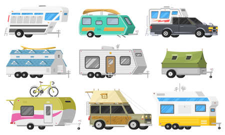 A set of trailers or family RV camping caravan. Tourist bus and tent for outdoor recreation and travel. Mobile home truck. Suv Car Crossover. Tourist transport, road trip, recreational vehicles.