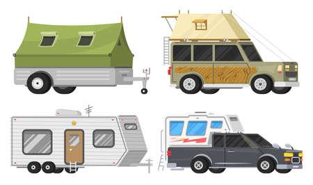 Anhänger oder Familien-RV-Camping-Wohnwagen. Touristenbus und Zelt für Erholung und Reisen im Freien. Wohnmobil-LKW. Geländewagen-Crossover. Reiseverkehr, Roadtrip, Wohnmobile. Vektorgrafik
