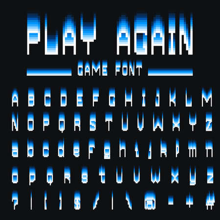 Pixel font. 8-bit symbols. Digital video game style. letters and numbers. Vintage retro typeface abc. Error Computer Video. Color Abstract Damage. Futuristic style. Vector Alphabet.