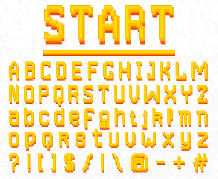 Pixel font. 8-bit symbols. Digital video game style. letters and numbers. Vintage retro typeface abc. Error Computer Video. Color Abstract Damage. Futuristic design. Vector Alphabet.