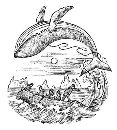 Whaling in the 18th and 19th century. Vintage seascape with hunters in boats with harpoons. scary killing of animals. Vintage style. Engraved hand drawn sketch
