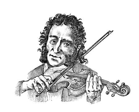 Man plays the violin. Musician with a classic instrument. Performance with a symphony orchestra. Vintage style music concept. Engraved hand drawn monochrome sketch