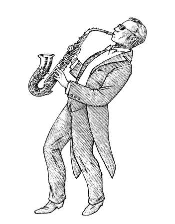 Man plays the trumpet. Musician with a classic instrument. Performance with a symphony orchestra. Vintage style music concept. Engraved hand drawn monochrome sketch