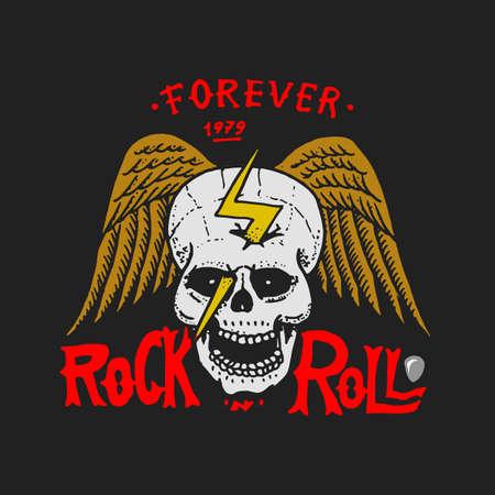 Símbolos de música rock and roll con calavera de alas de guitarra, púa de batería. etiquetas, logotipos. Plantillas de heavy metal para diseño de camisetas, fiestas nocturnas y festivales. Dibujado a mano. Boceto grabado. Logos