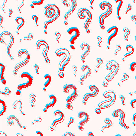 Question mark Seamless pattern.. Doodle style. Collection of icons and signs Why. Engraved hand drawn sketch. Abstract vector