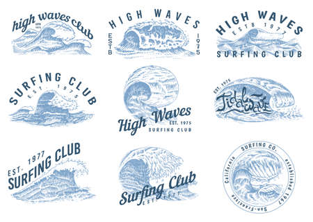Wave labels, logos. Set of Atlantic tide Templates. Vintage old engraved hand drawn. Marine and nautical or sea, ocean background for banner or poster. set of Isolated vector illustration